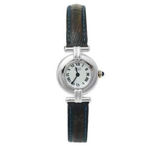 ساعة يد نسائية كارتييه موست دو كارتييه كوليزي 690002 جلدية وفضية بيضاء 24 مم