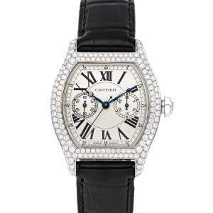 Cartier Silver Diamonds 18K White Gold Tortue Monopoussoir WA506351 Women's Wristwatch 34 x 43 MM