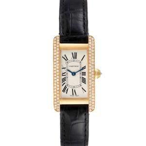 Cartier Silver Diamonds 18K Yellow Gold Tank Americaine WB701251 Women's Wristwatch 19 x 35 MM