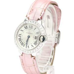 Cartier Silver Diamonds 18K White Gold Ballon Bleu WE900351 Women's Wristwatch 28 MM