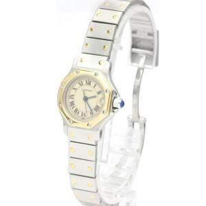Cartier Ivory 18K Yellow Gold And Stainless Steel Santos Octagon Quartz Women's Wristwatch 24 MM