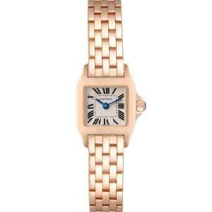 Cartier Silver 18K Rose Gold Santos Demoiselle W25077X9 Women's Wristwatch 17 x 24 MM