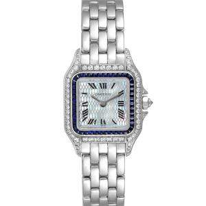Cartier Silver Sapphire Diamonds 18k White Gold Panthere 2362 Women's Wristwatch 22 MM