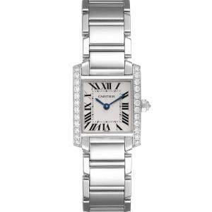 Cartier Silver Diamonds 18K White Gold Tank Francaise WE1002S3 Women's Wristwatch 20 x 25 MM