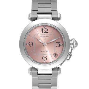 Cartier Pink Stainless Steel Pasha C Automatic W31075M7 Women's Wristwatch 35 MM