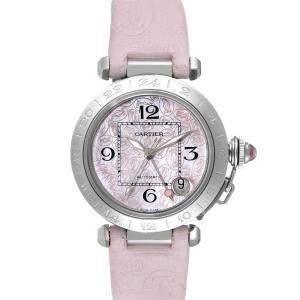 Cartier Pink Stainless Steel Pasha GMT W3107099 Women's Wristwatch 35 MM