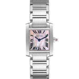 Cartier Pink Mother of Pearl Stainless Steel Tank Francaise W51028Q3 Women's Wristwatch 20 x 25 MM