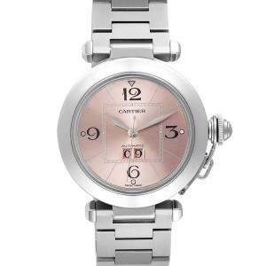 Cartier Pink Stainless Steel Pasha Big Date W31058M7 Women's Wristwatch 35 MM