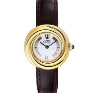 Cartier Silver Gold Plated Stainless Steel Vermeil 2735 Must de Cartier Women's Wristwatch 27 MM