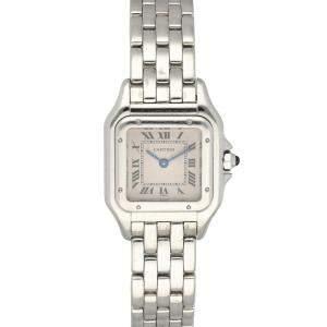 Cartier Silver 18K White Gold Panthere 1660 Women's Wristwatch 23 MM