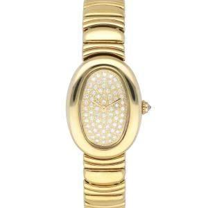Cartier Champagne Diamonds 18k Yellow Gold Baignoire WB5021D8 Women's Wristwatch 21 MM