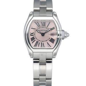 Cartier Pink Stainless Steel Roadster 2675 Women's Wristwatch 31 MM