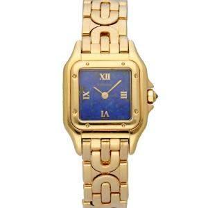 Cartier Blue Lapis 18K Yellow Gold Panthere 1280/2 Women's Wristwatch 23 MM