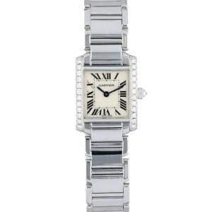 Cartier Silver Diamonds 18K White Gold Tank Francaise 2403 Women's Wristwatch 20 MM