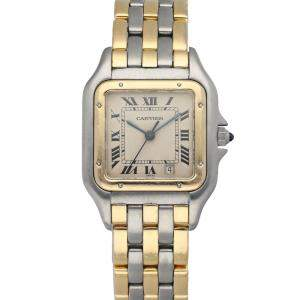 Cartier Silver 18K Yellow Gold And Stainless Steel Panthere 187949 Women's Wristwatch 28 MM