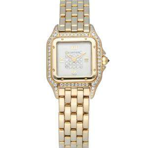 Cartier Silver Diamonds 18K Yellow Gold Panthere 8057915 Women's Wristwatch 24 MM