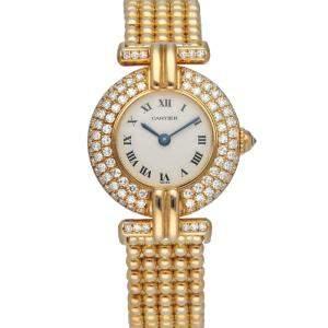 Cartier Silver Diamonds 18K Yellow Gold Colisee 1980 Quartz Women's Wristwatch 24 MM