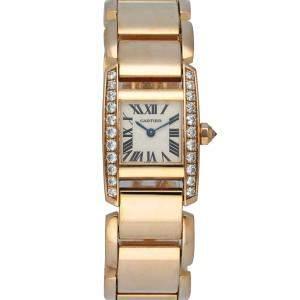Cartier Silver Diamonds 18K Rose Gold Tankissime 2801 Quartz Women's Wristwatch 20 MM