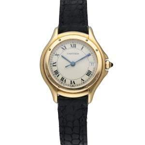 Cartier Silver 18K Yellow Gold Panthere Cougar 11701 Women's Wristwatch 26 mm