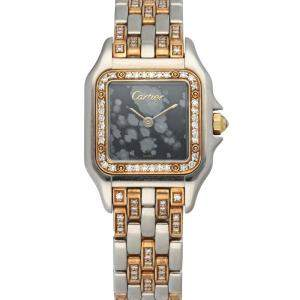 Cartier Grey Obsidian Diamonds 18K White Gold And 18K Rose Gold Panthere Women's Wristwatch 22 MM