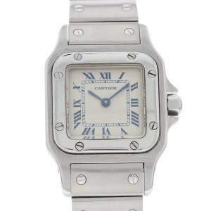 Cartier Silver Santos Stainless Steel 1565 Women's Wristwatch 24 MM