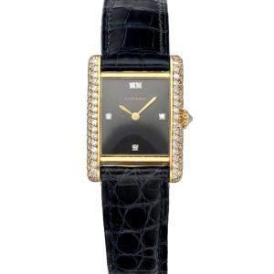 Cartier Black Diamonds 18K Yellow Gold Tank Paris 78227 Women's Wristwatch 20 MM