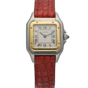 Cartier Silver 18K Yellow Gold And Stainless Steel Panthere 1120 Women's Wristwatch 22 MM