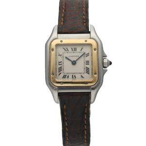 Cartier Silver 18K Yellow Gold And Stainless Steel Panthere 1120 Women's Wristwatch 23 MM