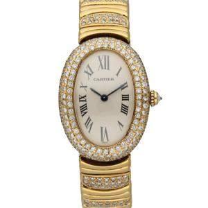 Cartier Silver Diamonds 18K Yellow Gold Baignoire 1954 Women's Wristwatch 22 MM