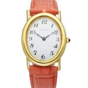 Cartier Silver 18K Yellow Gold 9029.21 Vintage Women's Wristwatch 28 MM