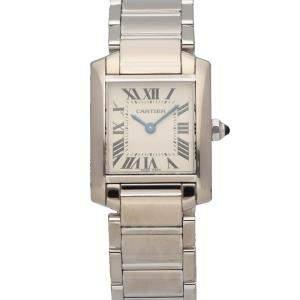 Cartier Silver 18K White Gold Tank Francaise 2403 Women's Wristwatch 20 MM