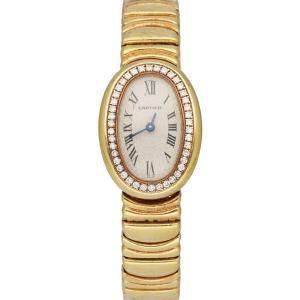 Cartier Silver Diamonds 18K Yellow Gold Baignoire 1960 Women's Wristwatch 22 MM
