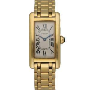 Cartier Silver 18K Yellow Gold Tank Americaine 1710 Women's Wristwatch 19 x 35 MM