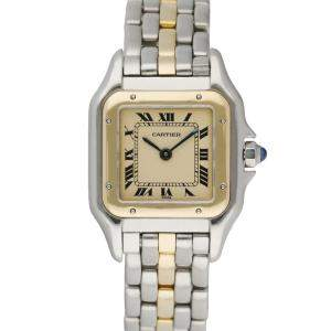 Cartier Silver 18K Yellow Gold And Stainless Steel Panthere Women's Wristwatch 22 MM