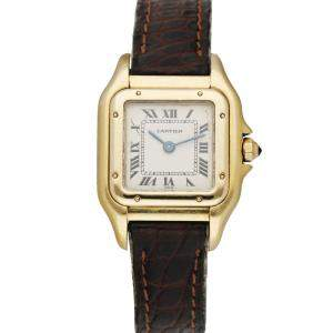 Cartier Silver 18K Yellow Gold Panthere 8057929 Women's Wristwatch 22 MM