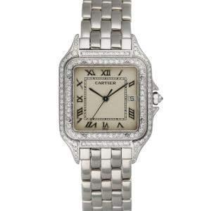 Cartier Silver Diamonds 18K White Gold Panthere 1650/2 Women's Wristwatch 27 MM