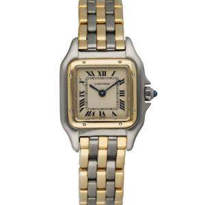 Cartier Silver 18K Yellow Gold And Stainless Steel Panthere 1057917 Women's Wristwatch 22 MM