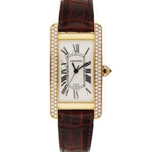 Cartier Silver Diamonds 18K Yellow Gold Tank Americaine 2483 Women's Wristwatch 23 MM