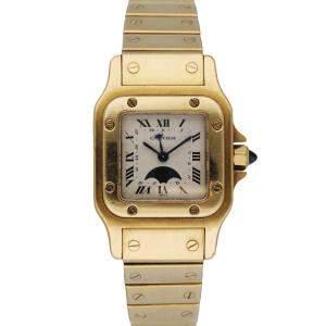 Cartier Silver 18K Yellow Gold Moon Phase Santos 819902 Women's Wristwatch 25 MM