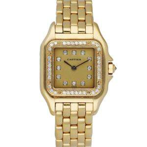 Cartier Champagne Diamonds 18K Yellow Gold Panthere 8057915 Women's Wristwatch 22 MM