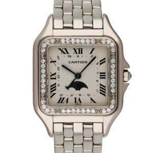 Cartier Silver Diamonds 18K White Gold Panthere Moon Phase Women's Wristwatch 28 MM