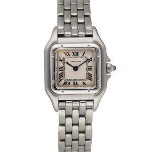 Cartier Silver Stainless Steel Panthere 1320 Women's Wristwatch 22 MM