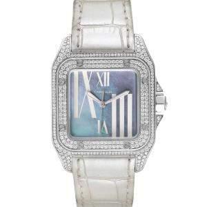 Cartier Blue MOP Diamonds 18K White Gold Santos 100 WM503251 Women's Wristwatch 33 MM