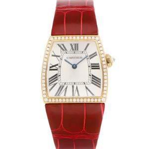 Cartier Silver Diamonds 18K Yellow Gold La Dona WE600251 Women's Wristwatch 28 MM