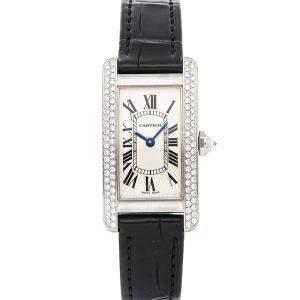 Cartier Silver Diamonds 18K White Gold Tank Americaine WB701851 Women's Wristwatch 28 x 19 MM
