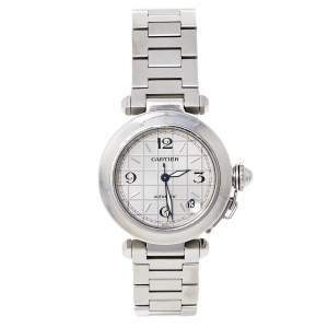 ساعة يد نسائية كارتييه باشا دو كارتييه 2324 ستانلس ستيل فضية 35 مم