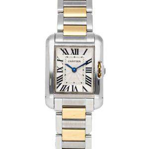 Cartier Silver 18K Yellow Gold And Stainless Steel Tank Anglaise W5310046 Women's Wristwatch 30 x 22 MM