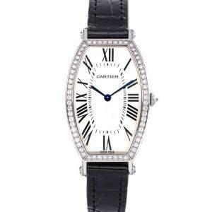 Cartier Silver Diamonds 18K White Gold Tonneau WE400251 Women's Wristwatch 26 x 39 MM