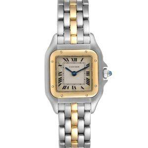 Cartier Silver 18K Yellow Gold And Stainless Steel Panthere W25029B5 Women's Wristwatch 22 MM