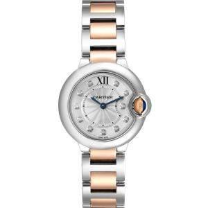 Cartier Silver Diamonds 18K Rose Gold And Stainless Steel Ballon Bleu WE902030 Women's Wristwatch 29 MM
